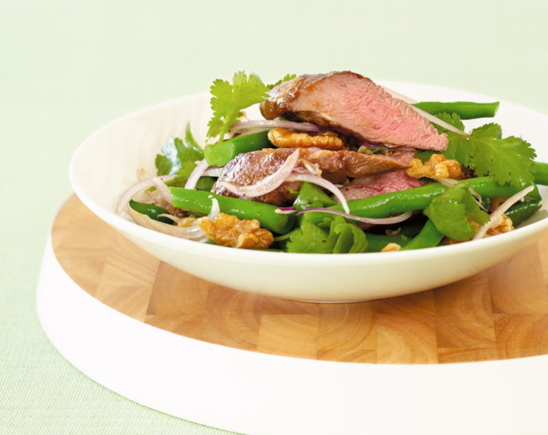 Hoisin Coastal Lamb Backstrap with Green Beans and Walnut Salad
