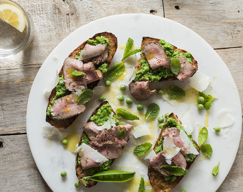 Coastal Lamb and Green Pea Bruschetta