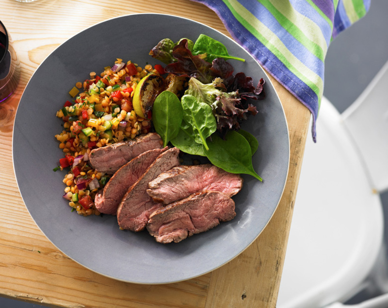 Coastal Lamb Rump Steaks With Red Lentil Salad