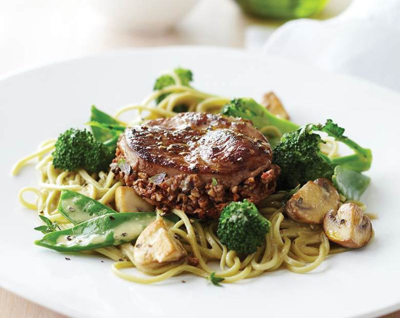 Coastal Lamb Steaks with Mushroom Stuffing, Wok Vegetables & Green Tea Noodles