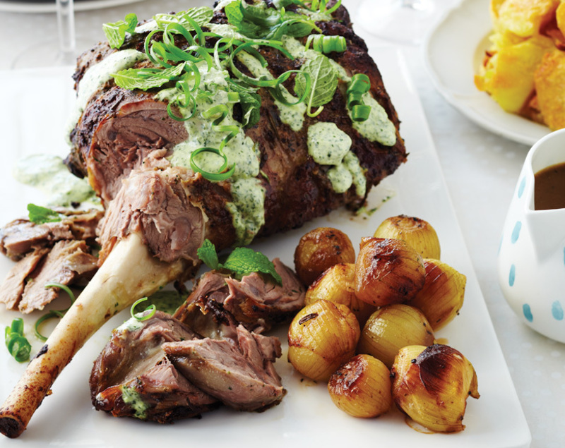 Marinated Coastal Roast Lamb With Fresh Mint Topping